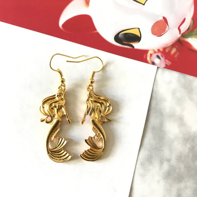Gold mermaid earrings