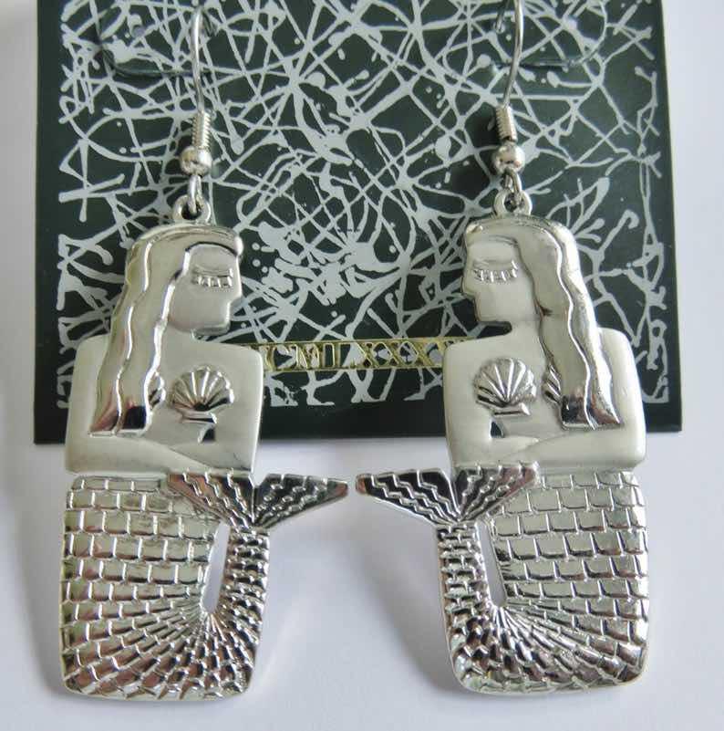 JJ Jonette Hard to Find Silver Mermaid Pierced Earrings