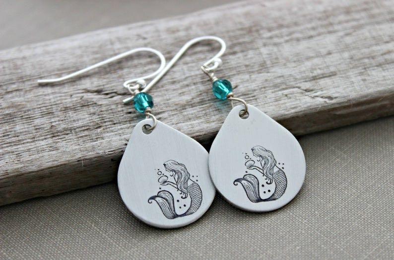Pewter Hand-Stamped Mermaid Earrings