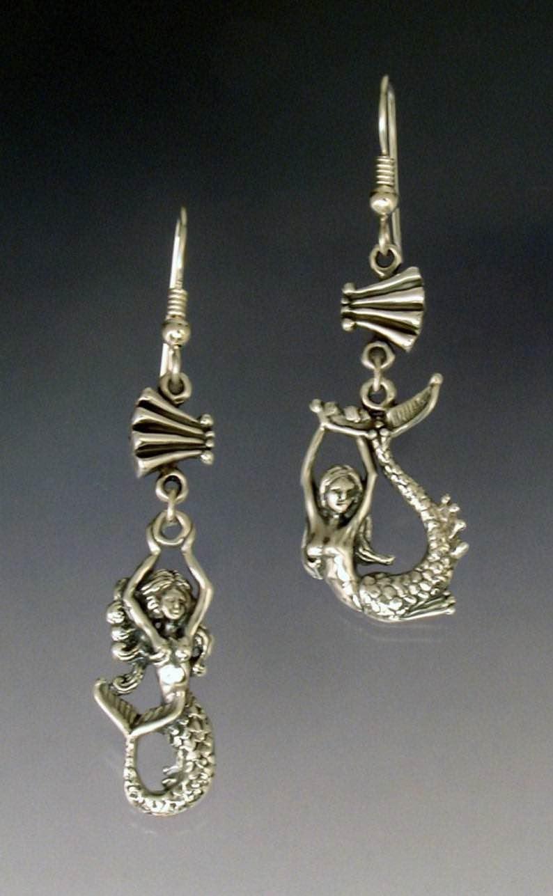 Asymetrical Mermaid Earrings in Sterling Silver