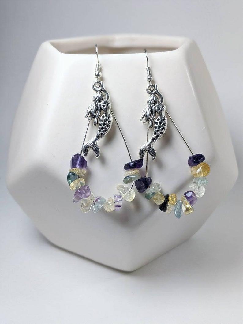 Gemstone Mermaid Earrings