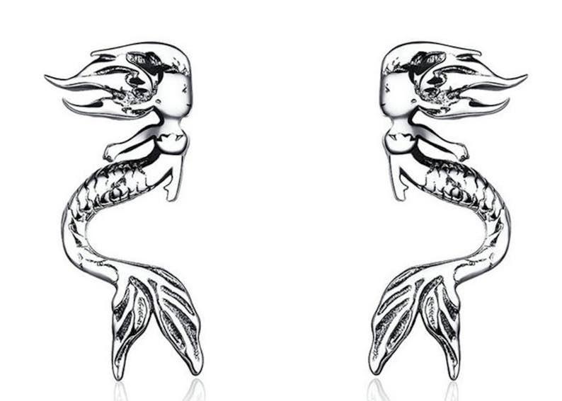 Sterling Silver Stud Mermaid Earrings
