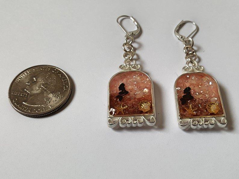 Mermaid Earrings, Pink and Brown Shell