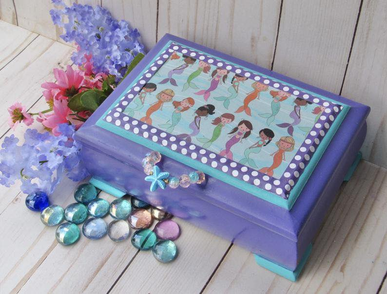 Upcycled Vintage Girl's Mermaid Jewelry Box