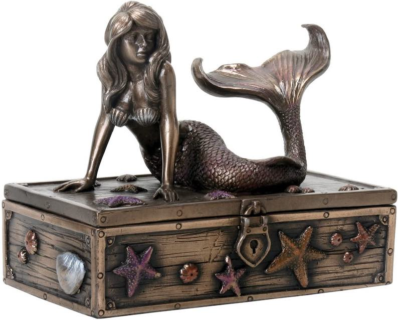 Art Nouveau Bronze Metal Colored Mermaid on Treasure Chest Knick-Knack Box