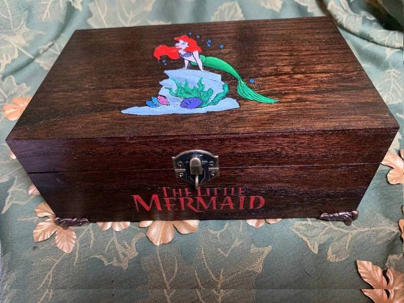 "Limited edition Hand painted Deluxe Little Mermaid ""Ariel"" Engraved Wooden box"