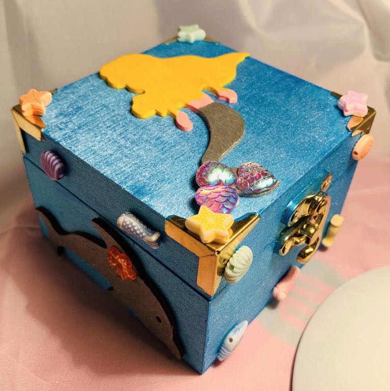 Wooden Mermaid Jewelry Box with Turtles and Shells