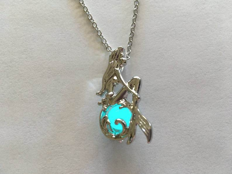 Glow in the Dark Little Mermaid Ariel Necklace