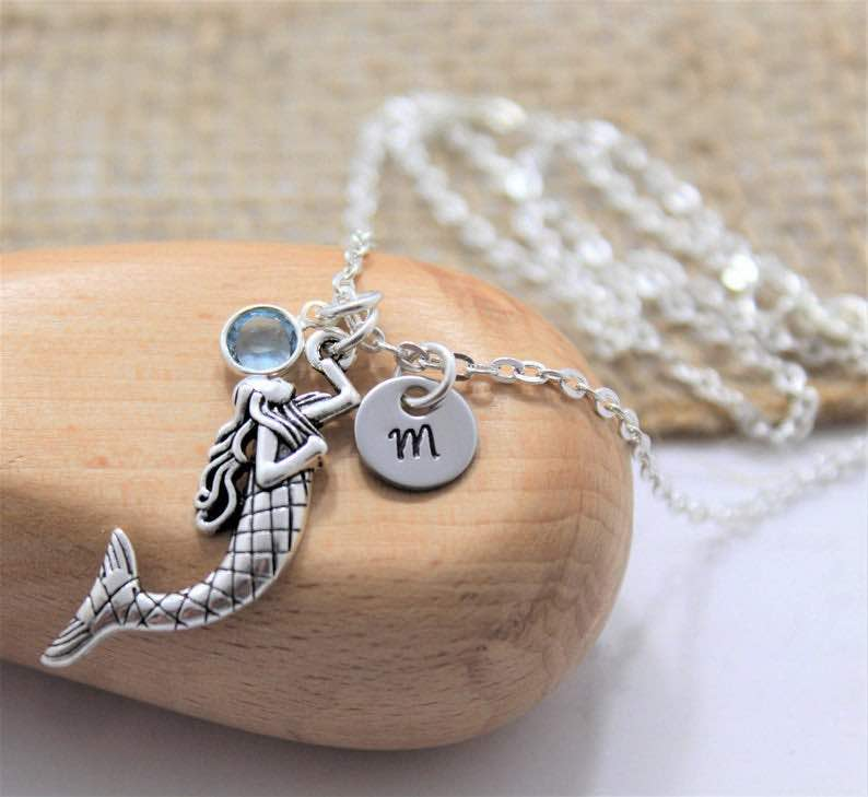 Personalized Silver Mermaid Pendant