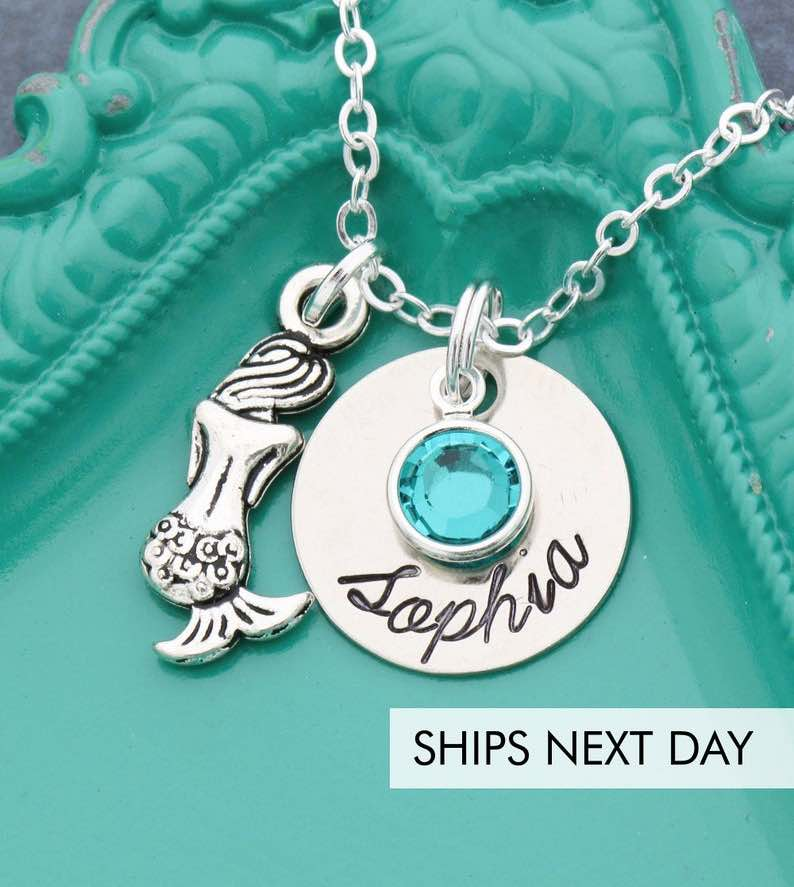 Personalized Silver Mermaid Charm Necklace