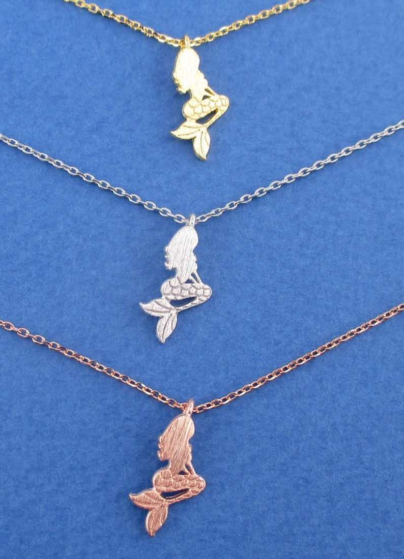 Ariel Silhouette Charm Necklace in Silver Gold or Rose Gold