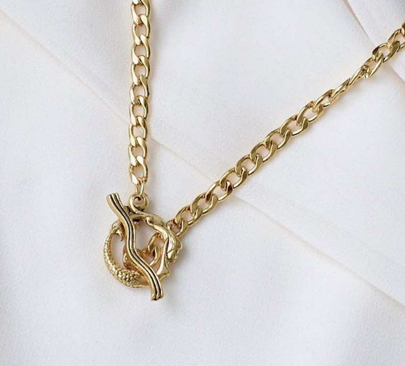 Mermaid Toggle Necklace – Gold