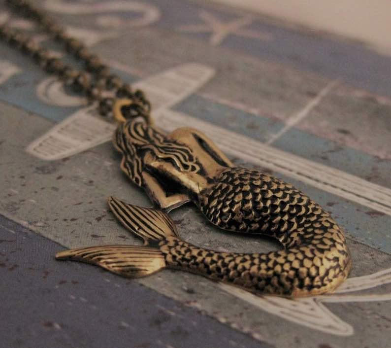 Antique Gold Mermaid Pendant