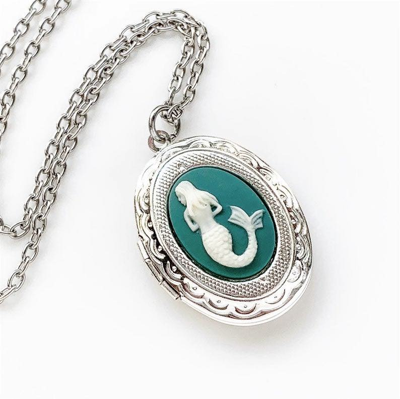Mermaid Locket Cameo Necklace