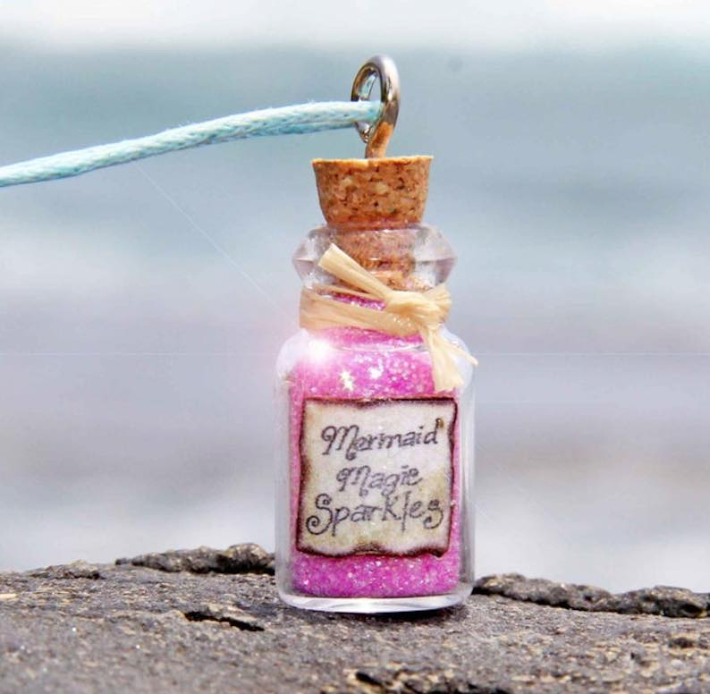 Mermaid Necklace – Sparkling Sand in Corked Bottle