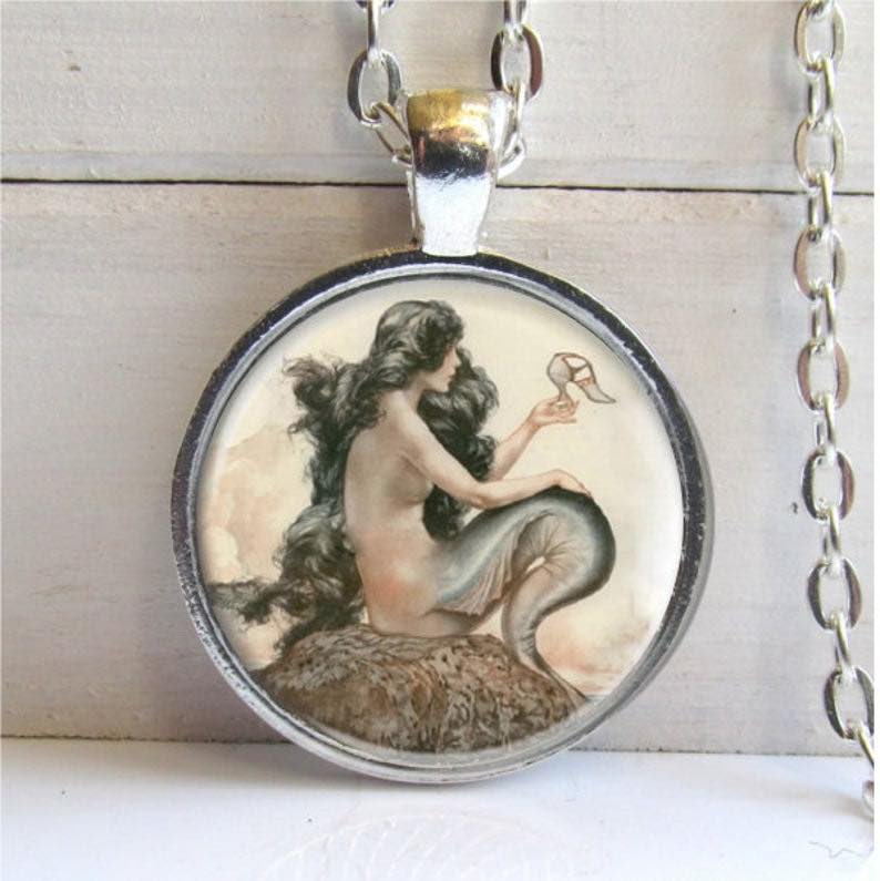 Vintage Art Mermaid Necklace