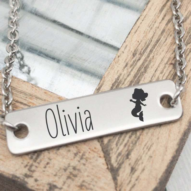 "Personalized ""Mergirl"" Girl's Mermaid Necklace"