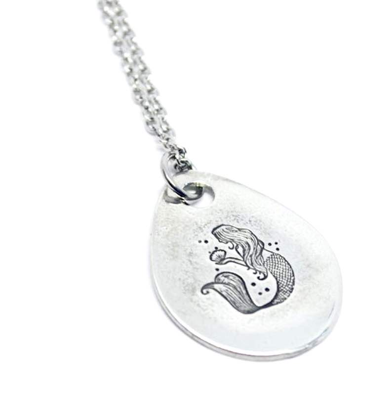 Pewter Stamped Mermaid Necklace