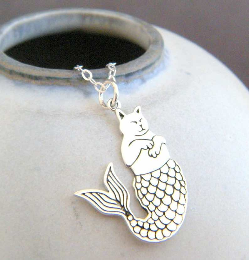 Sterling Silver Cat Mermaid Necklace