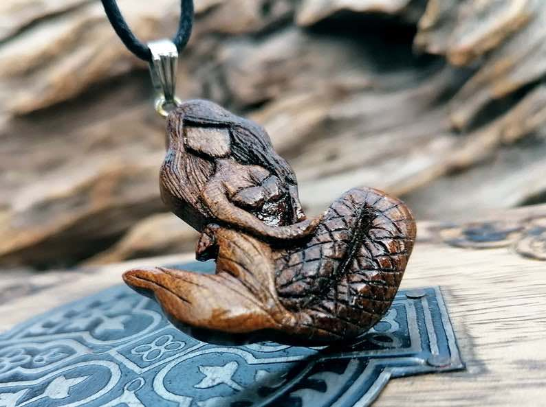 Handmade, Carved Wooden Mermaid Pendant