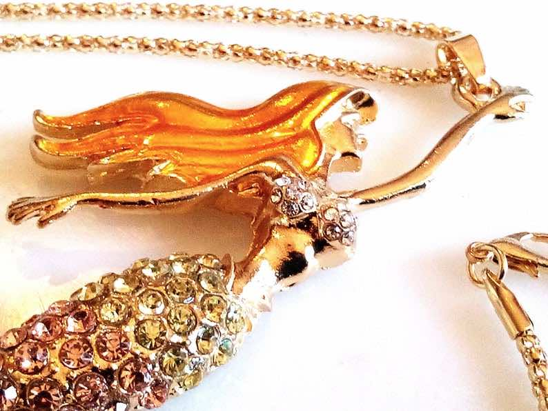 Gold Enameled Rhinestone Mermaid Necklace<