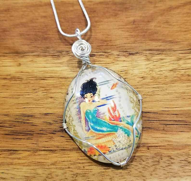 Wire-wrapped Handmade Mermaid Necklace