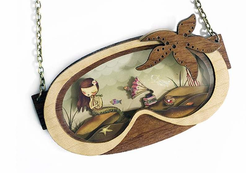 Natural Wood and Inside 3D Little Mermaid Necklace