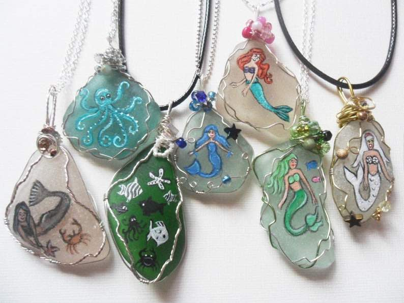 Hand Painted Sea Glass Mermaid Necklaces