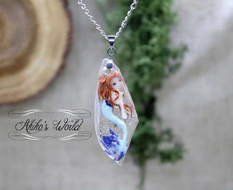 Miniature Mermaid Necklace in Resin
