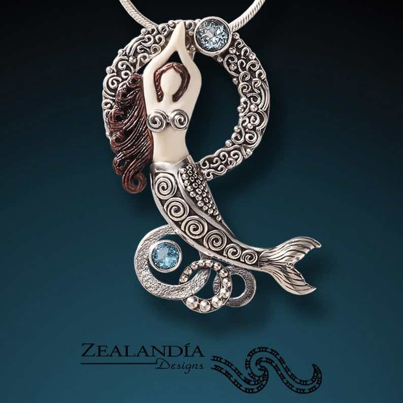 Topaz, Silver, Indonesian Cow Bone Dancing Mermaid Necklace