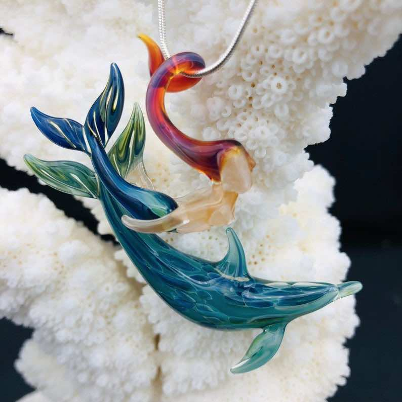 Flameworked Glass Dolphin with Mermaid Necklace