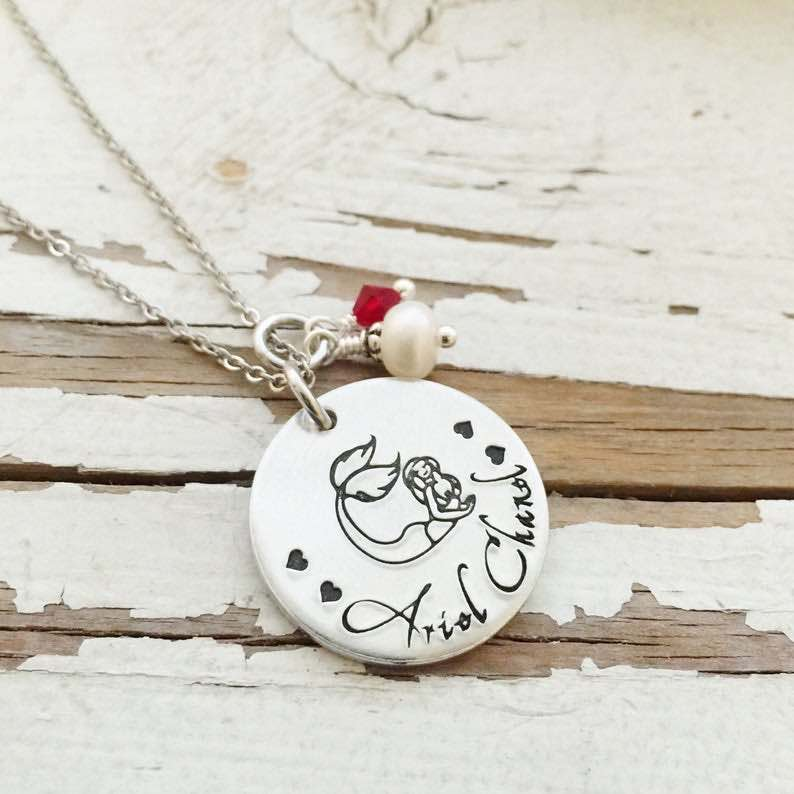 Hand Stamped Mothers Mermaid Necklace