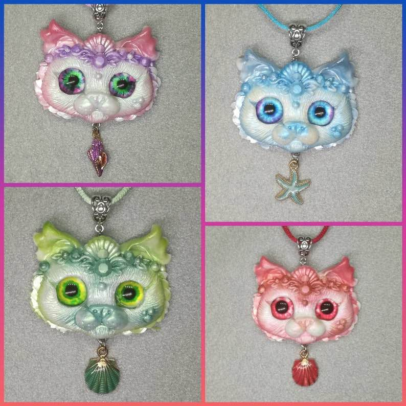 Mermaid Cats Aquapurr Necklaces