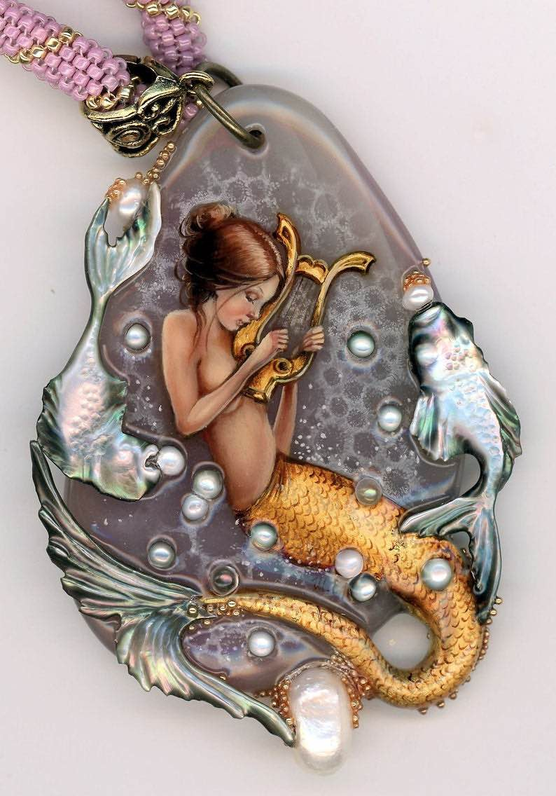 "Handmade Russian Purple Onyx ""Golden Mermaid"" Pendant"
