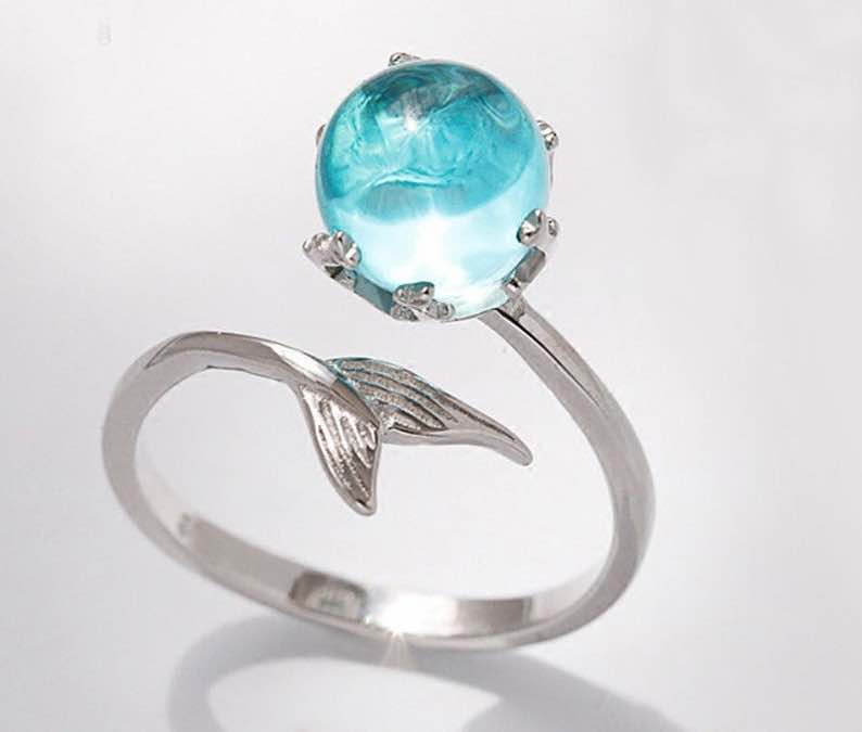 Silver Mermaid Ring with Blue Stone