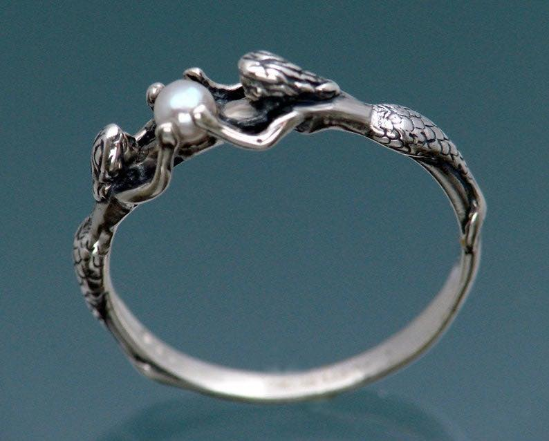 Two Mermaids Ring with Pearl in Sterling Silver