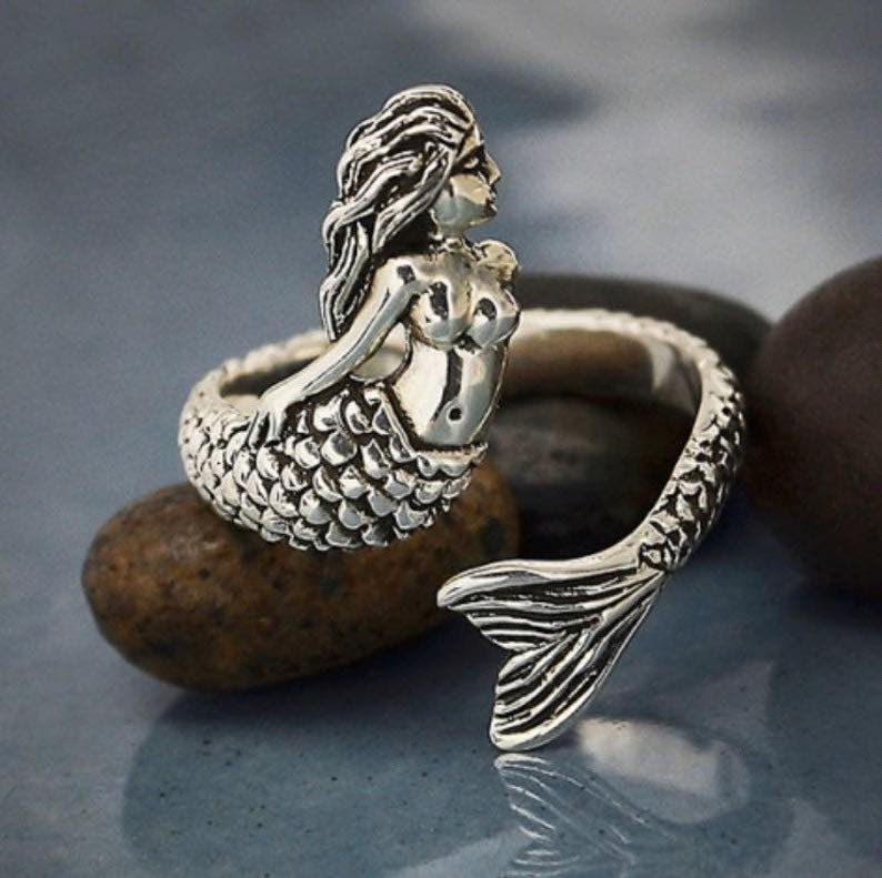 Sterling Silver Mermaid Statement Ring