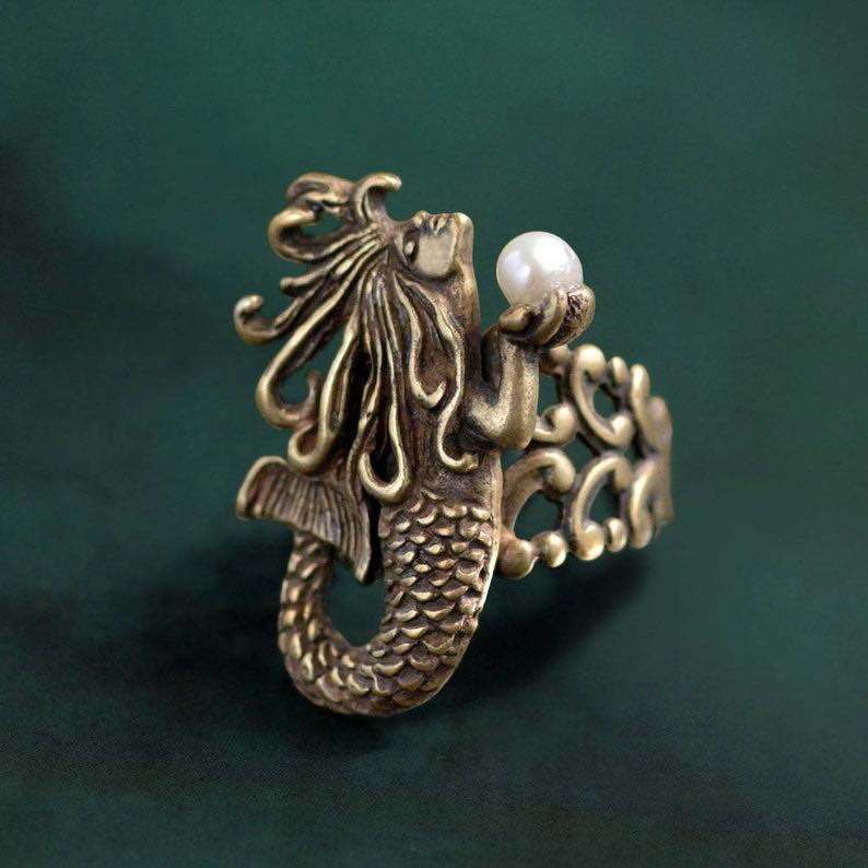 Mermaid Sculpture Silver Ring