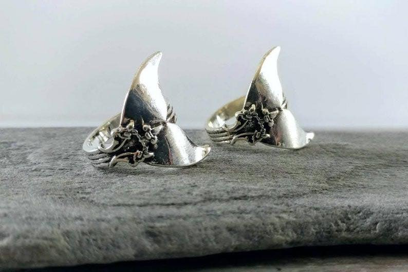 Antiqued Silver Mermaid Statement Ring