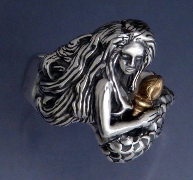 Sterling Silver and Bronze Mermaid with Conch Shell Ring