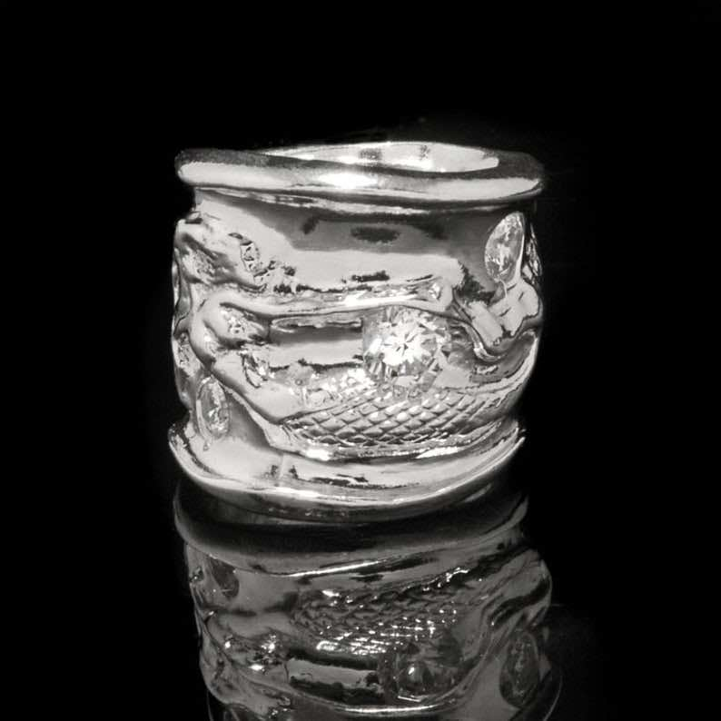 Carved Sterling Silver Mermaid Ring