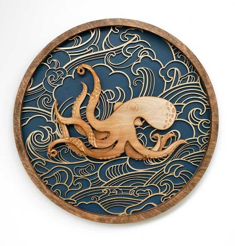 Wooden Kraken Nautical Wall Art