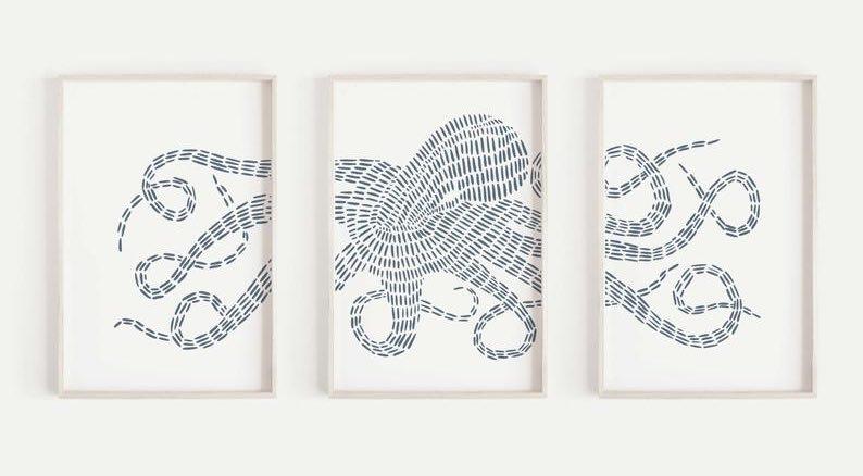 Kraken Wall Art Triptych