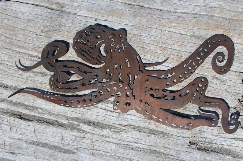 Metal Octopus with Patina Finish Wall Art