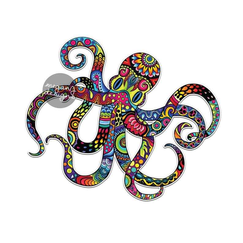 Colorful Hippie Octopus Bumper Sticker