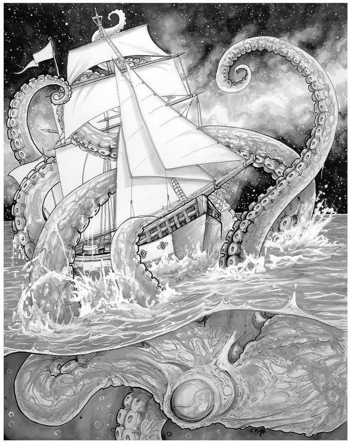 Giant Octopus Shipwreck 13×19 Fine Art Print