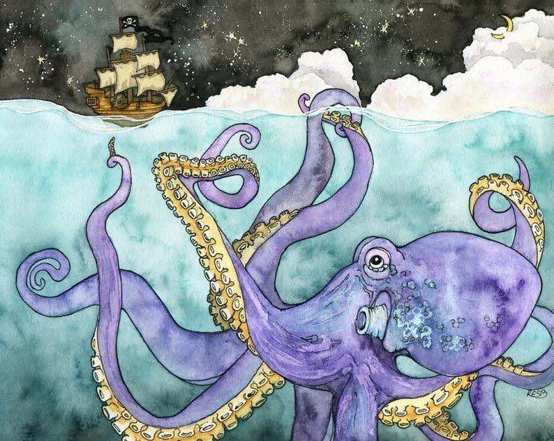 """Davy Jones Locker"" Watercolor Print"