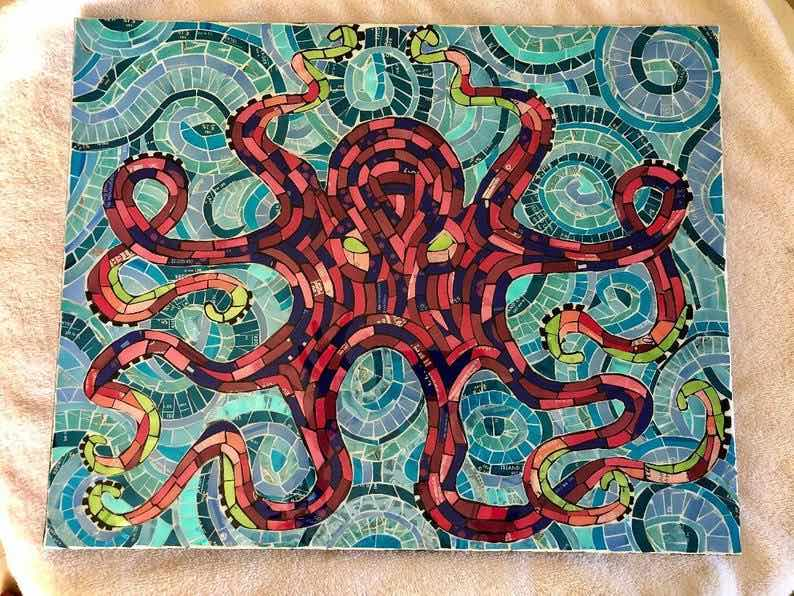 Aluminum Can Octopus Mosaic