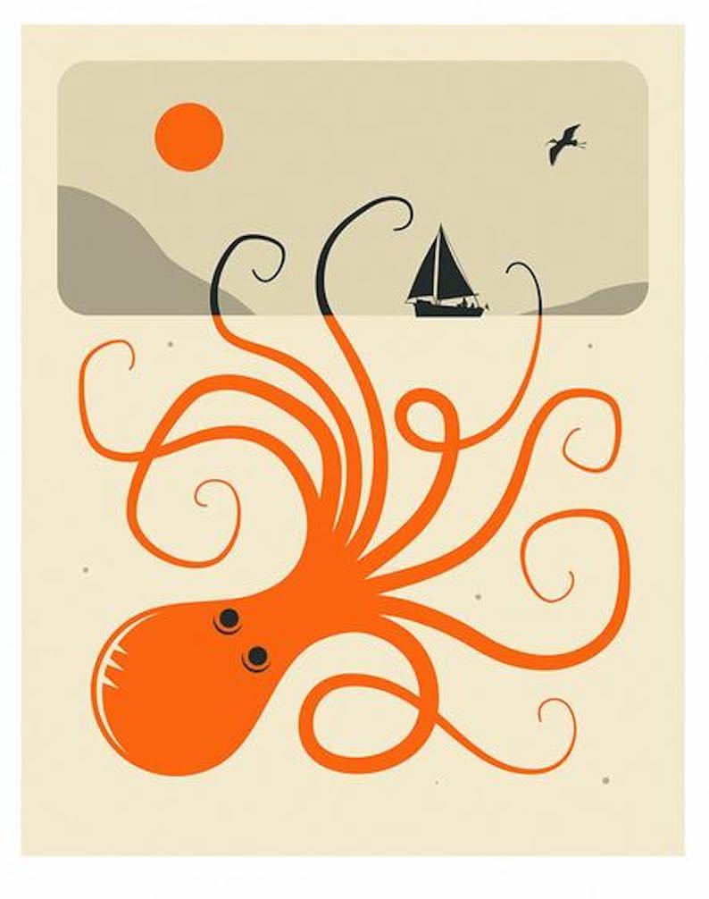 TENTACLES 2 Minimal Octopus Art Print