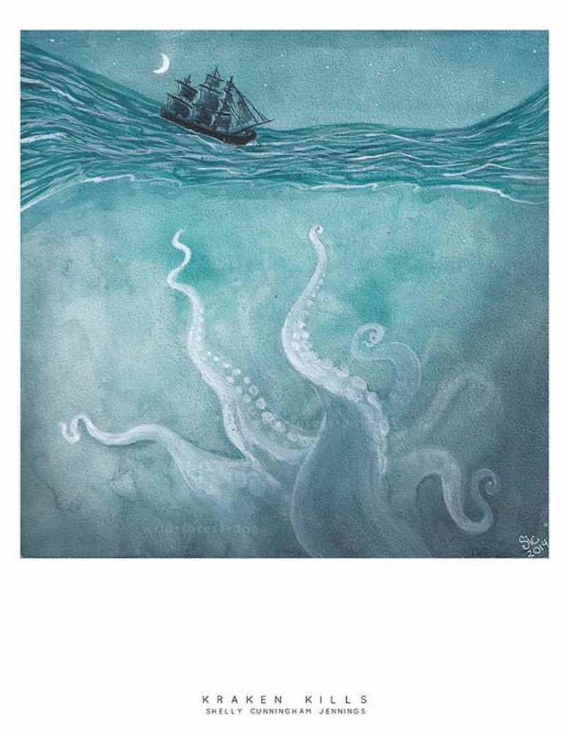 """Kraken Kills"" Watercolor Painting"